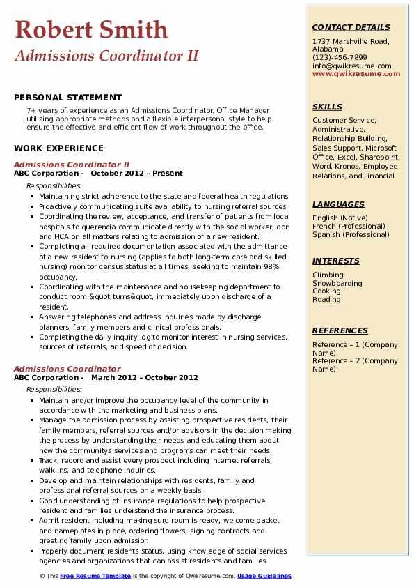 Admissions Coordinator II Resume Example