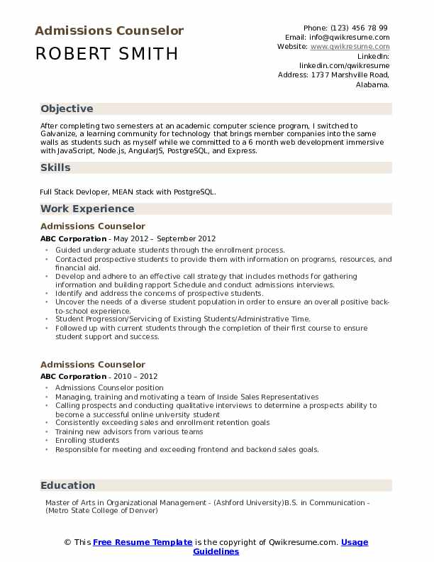 Objective for resume admissions counselor