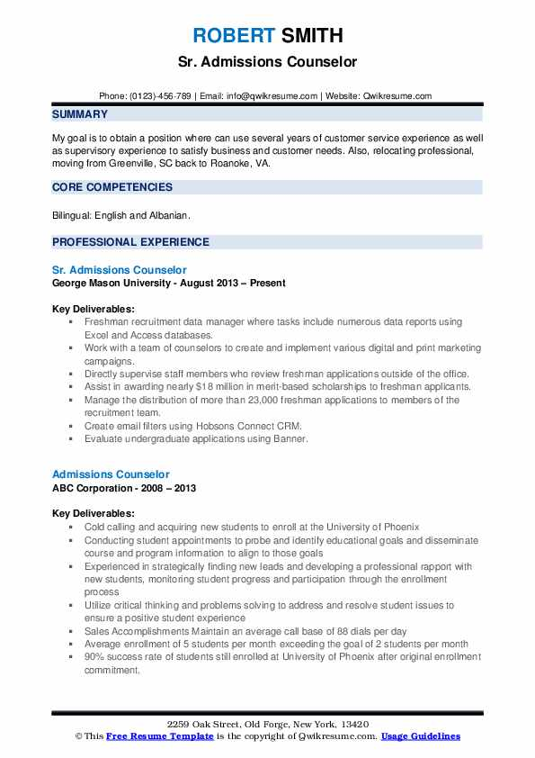 Sr. Admissions Counselor Resume Format