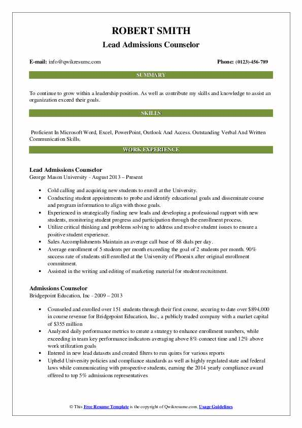 Lead Admissions Counselor Resume Template