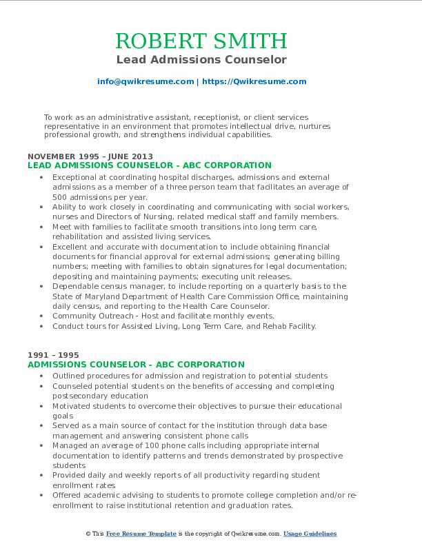 Lead Admissions Counselor Resume Sample