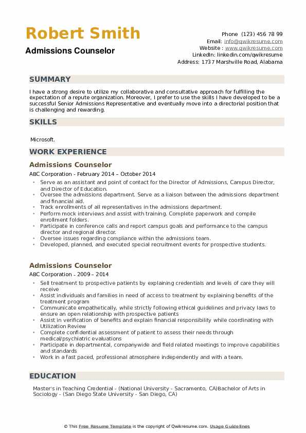 Admissions Counselor Resume Sample