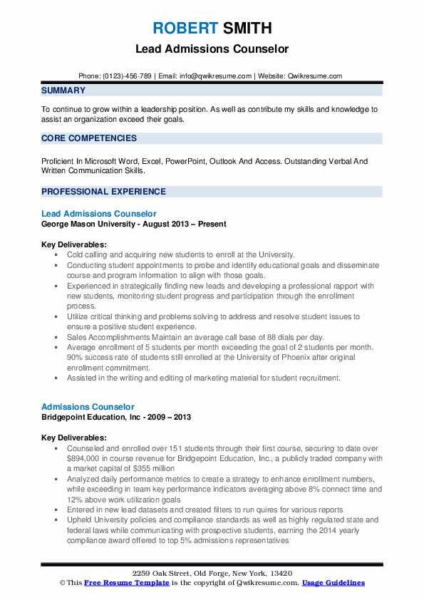 Graduate Admissions Advisor Resume Example
