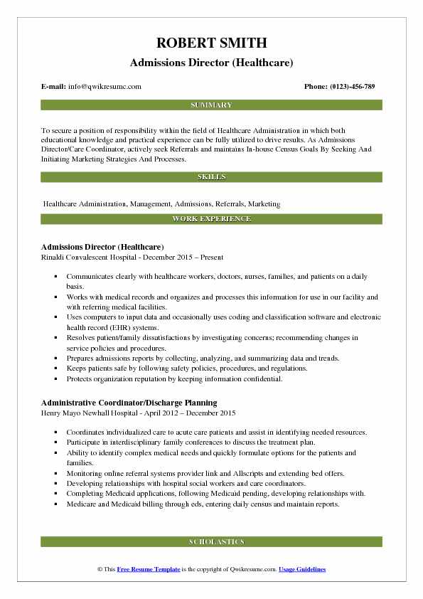 Military college admissions director resume