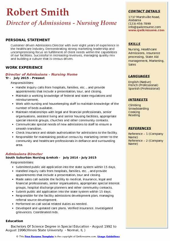 admissions director resume samples