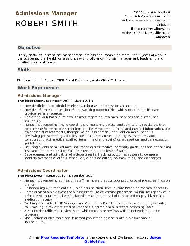 admissions manager resume samples
