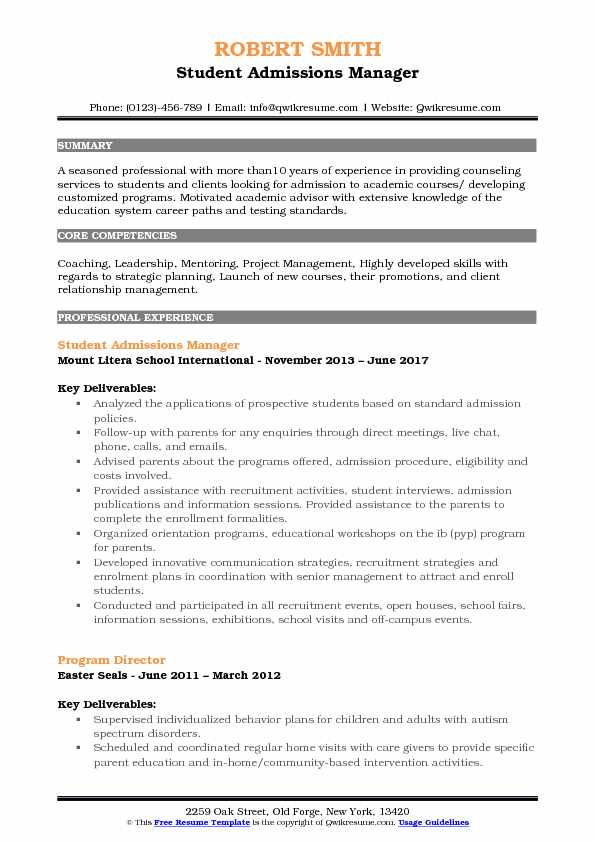 Admissions Manager Resume Samples | QwikResume
