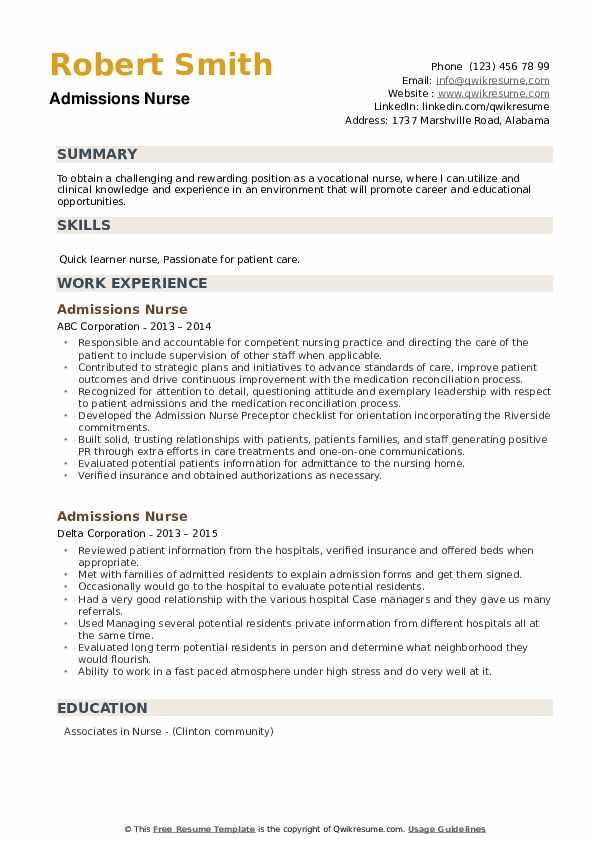 Admissions Nurse Resume example