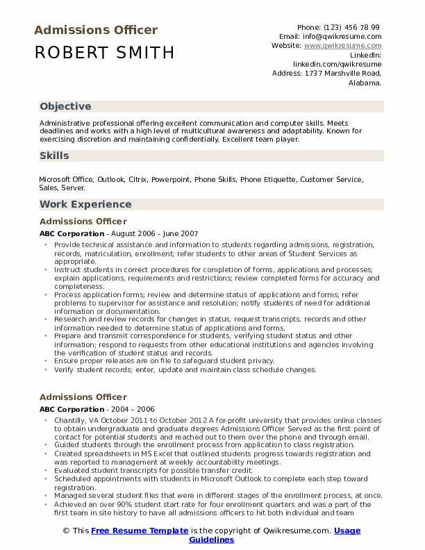 Admissions Officer Resume Format