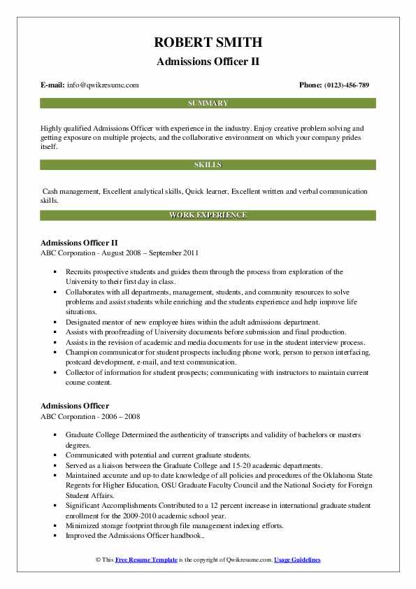 Admissions Officer II Resume Format