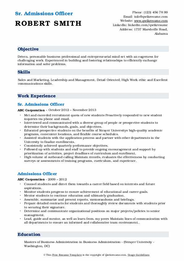 Sr. Admissions Officer Resume Example
