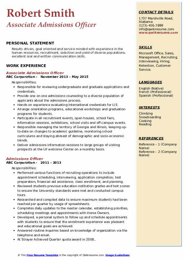 Associate Admissions Officer Resume Format