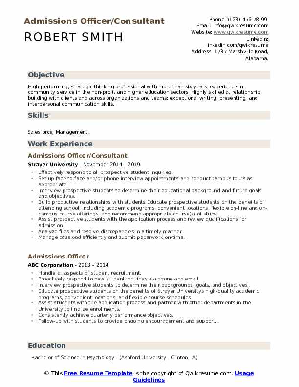 Admissions Officer/Consultant Resume Sample