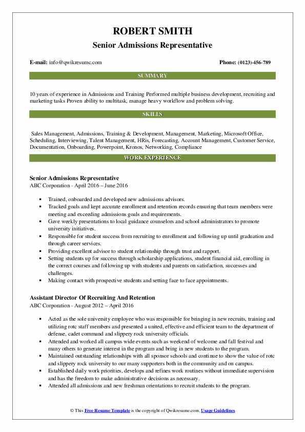 Senior Admissions Representative Resume Sample