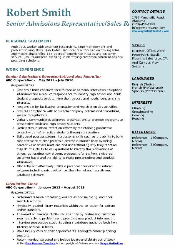 Senior Admissions Representative/Sales Recruiter Resume Format