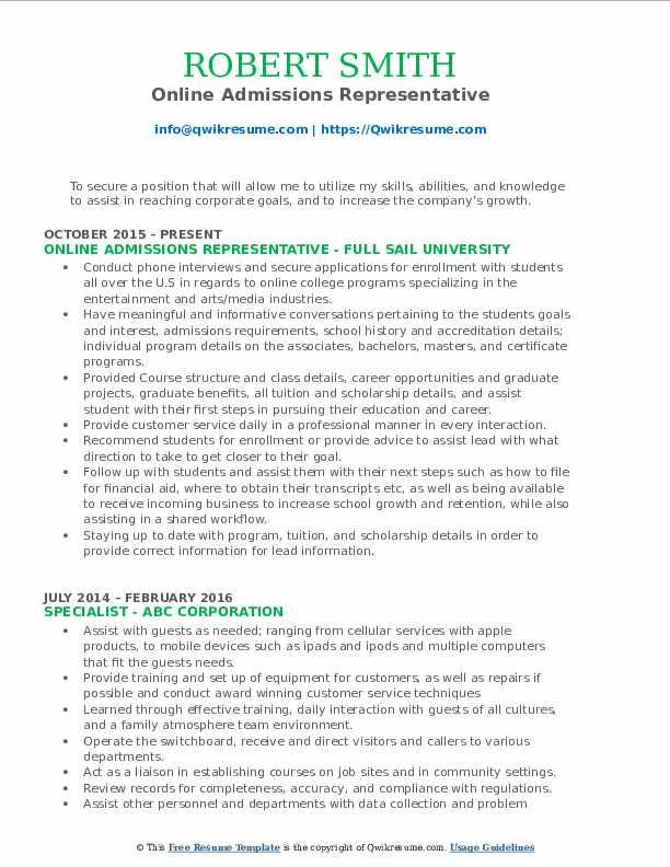 Online Admissions Representative Resume Template