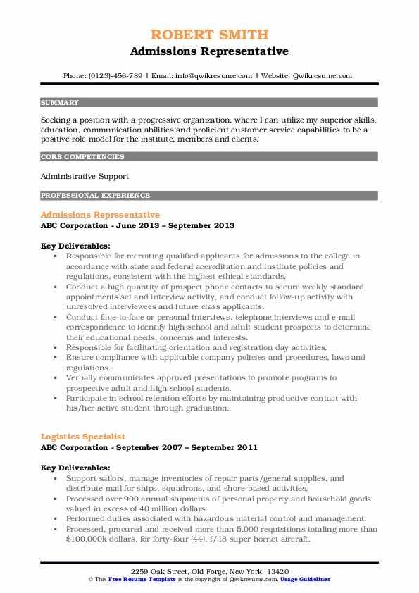 Admissions Representative Resume Sample