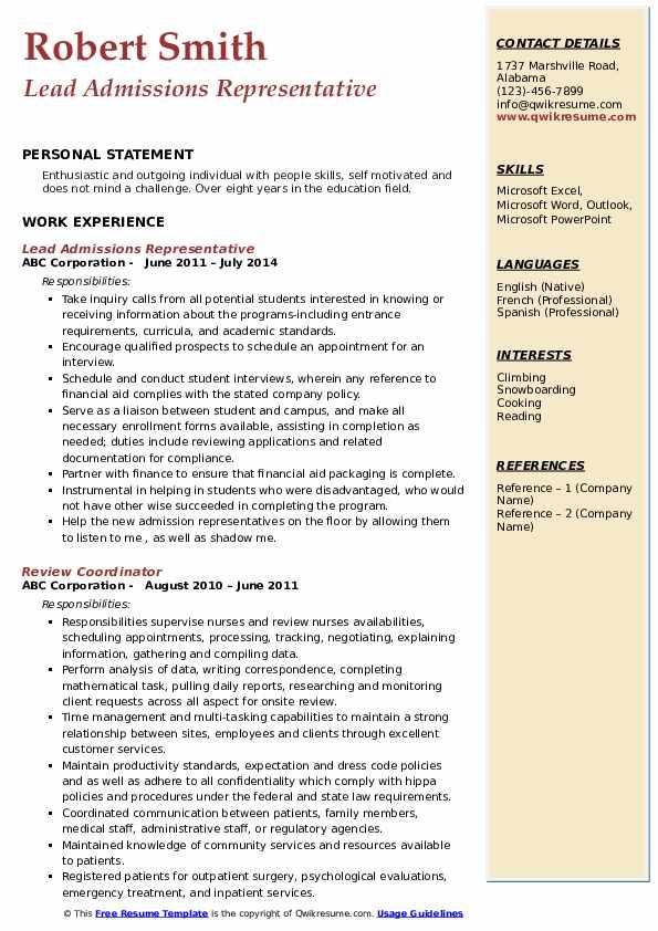 Lead Admissions Representative Resume Model