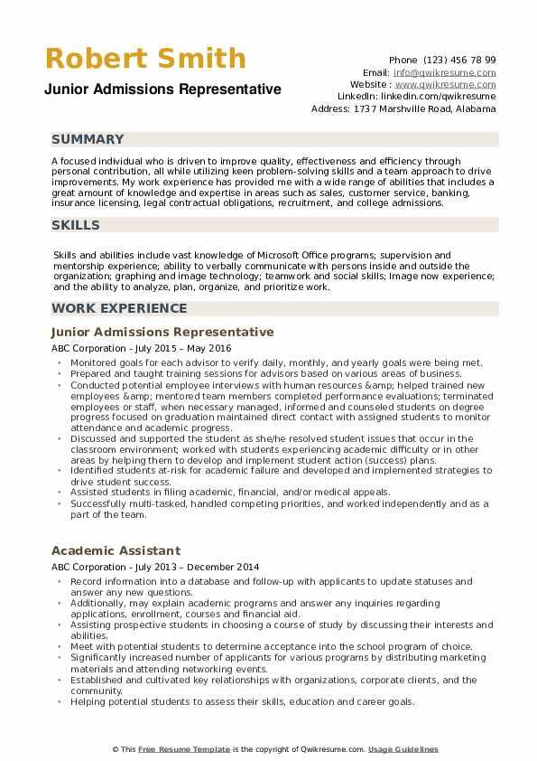 Junior Admissions Representative Resume Sample