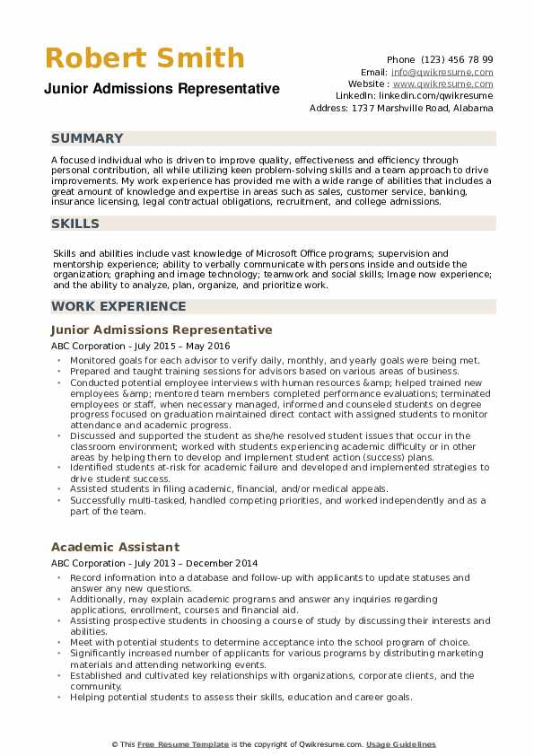 Resume for college admissions representative