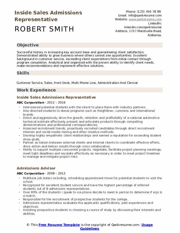 Inside Sales Admissions Representative Resume Example
