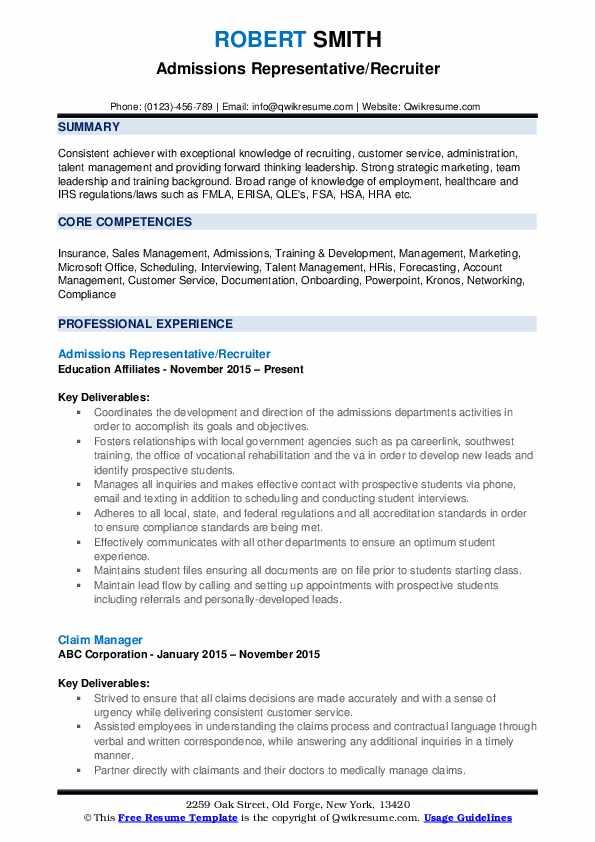 Admissions Representative/Recruiter Resume Sample