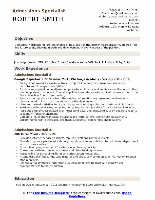 Admissions Specialist Resume Model