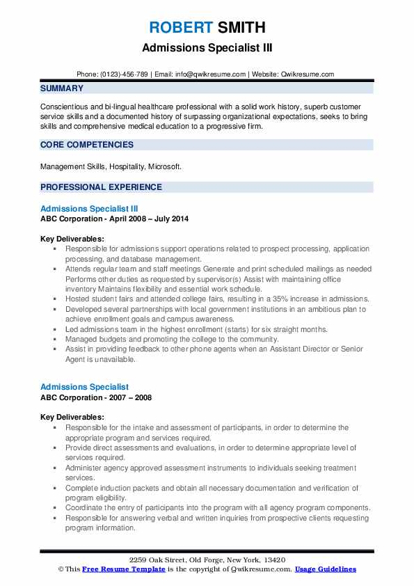 Admissions Specialist III Resume Format