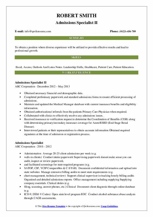 Admissions Specialist II Resume Template
