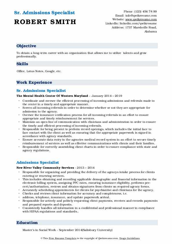 Sr. Admissions Specialist Resume Format