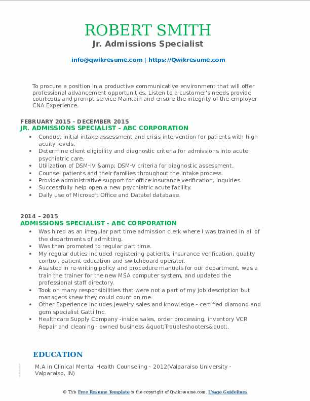 Jr. Admissions Specialist Resume Example