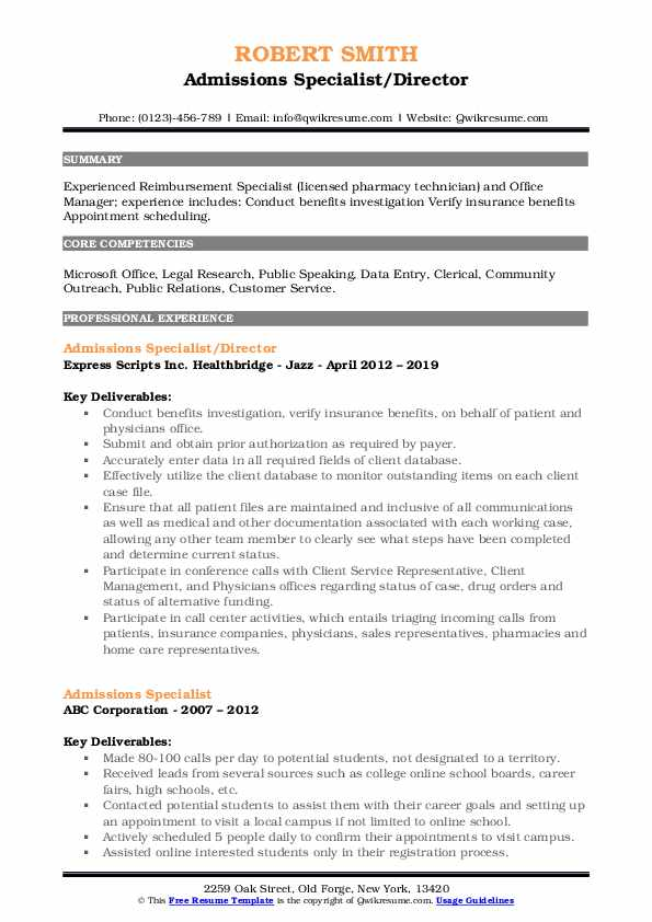 Admissions Specialist/Director Resume Sample