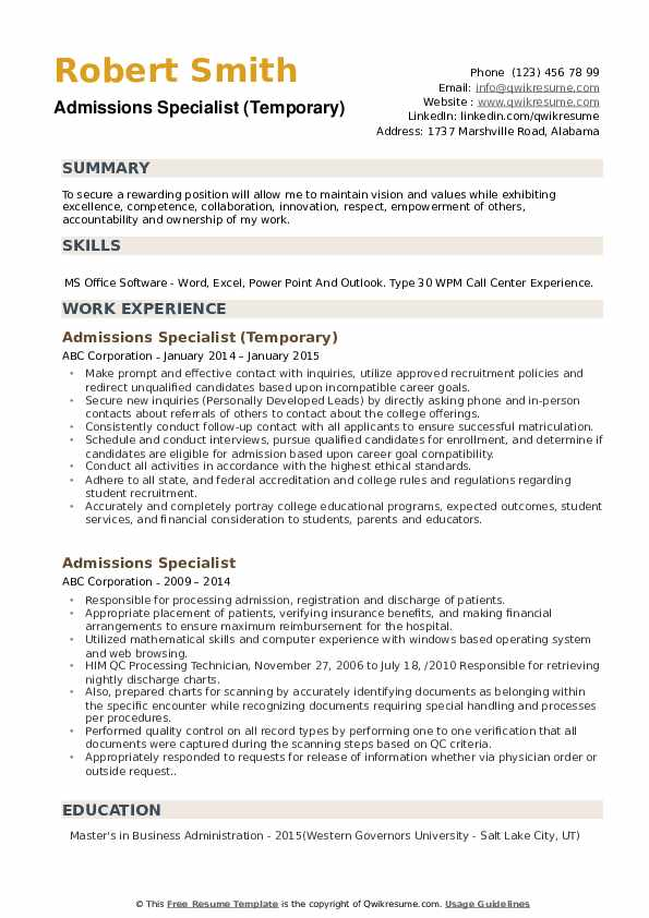 Admissions Specialist (Temporary) Resume Model