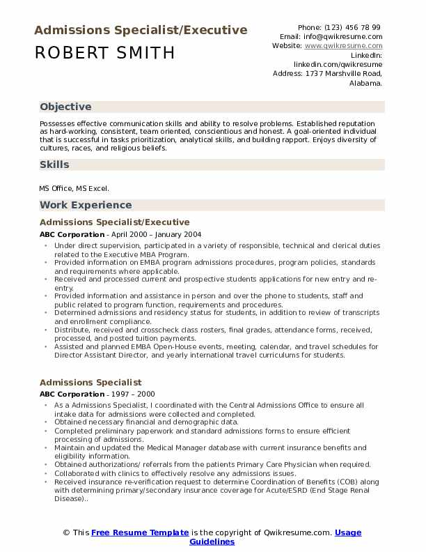 Admissions Specialist/Executive Resume Example