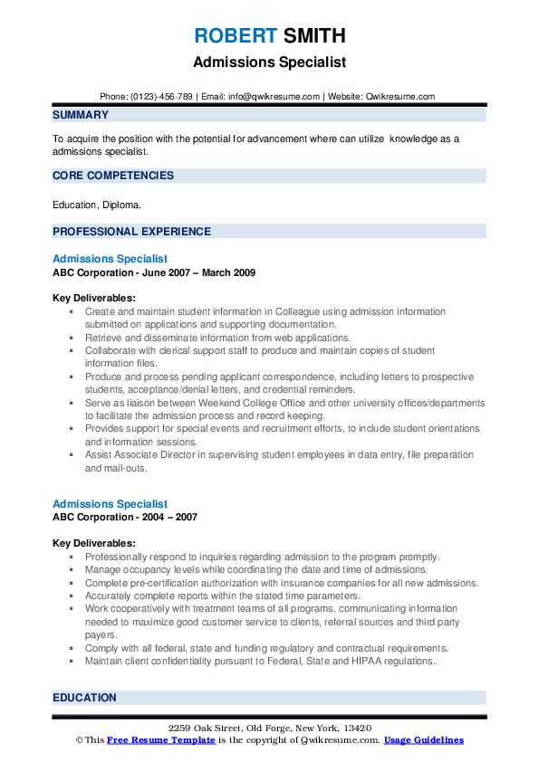 Admissions Specialist Resume example