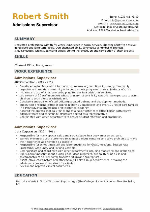 Admissions Supervisor Resume example