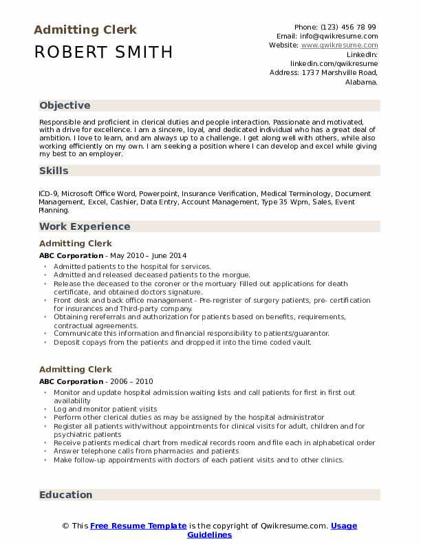 Admitting Clerk Resume Samples Qwikresume