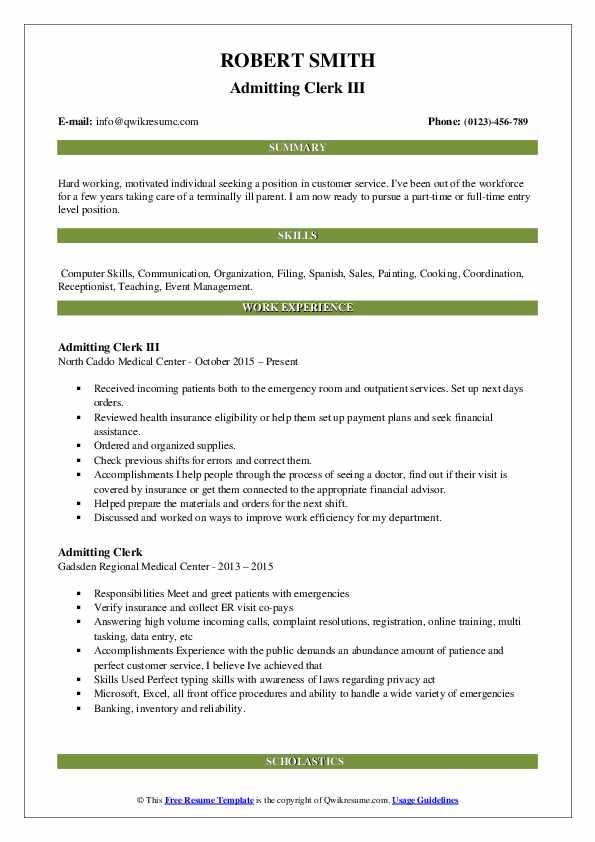 Admitting Clerk III Resume Template