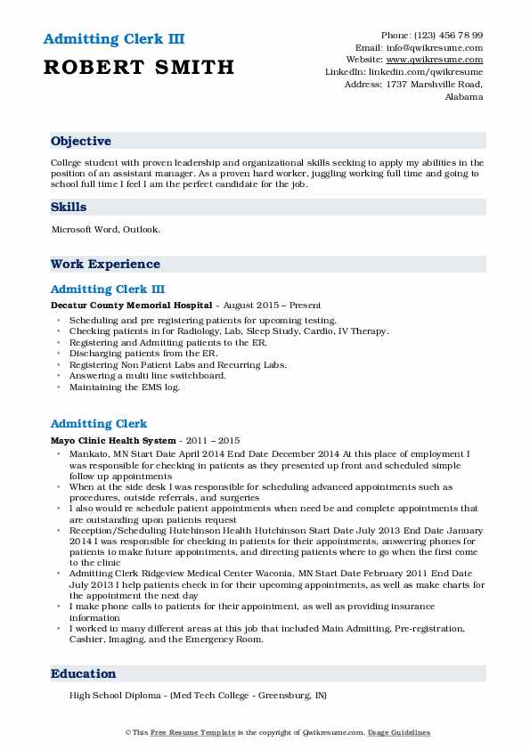 Admitting Clerk III Resume Model