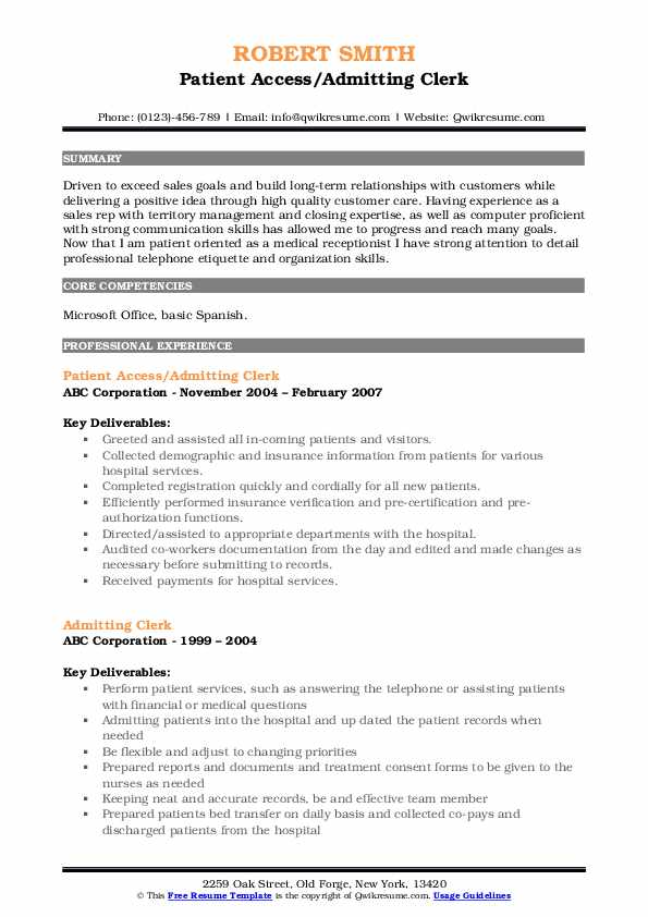 Patient Access/Admitting Clerk Resume Template