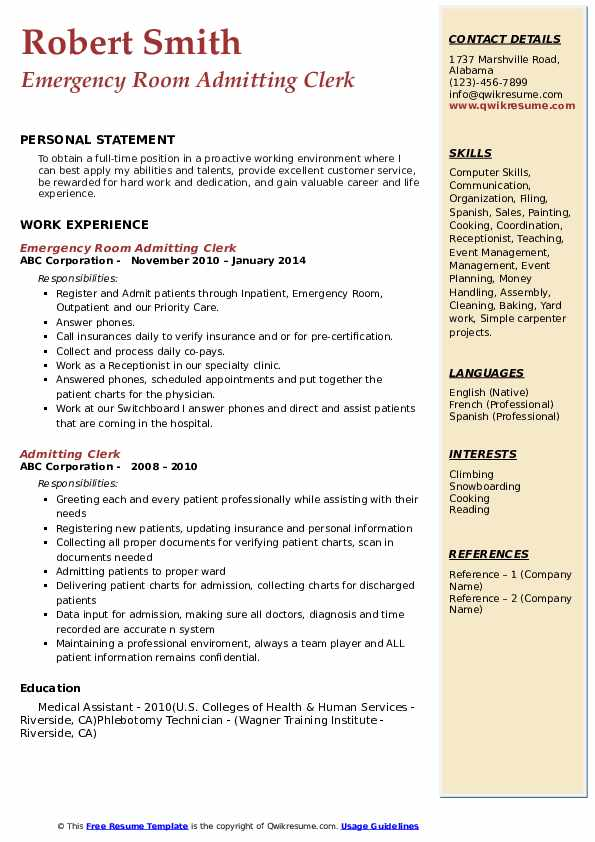 Admitting Clerk Resume Samples | QwikResume