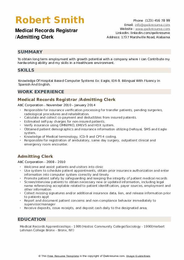admitting clerk resume samples
