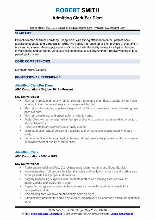 Admitting Clerk/Per Diem Resume Template
