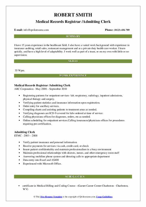 Medical Records Registrar /Admitting Clerk Resume Template