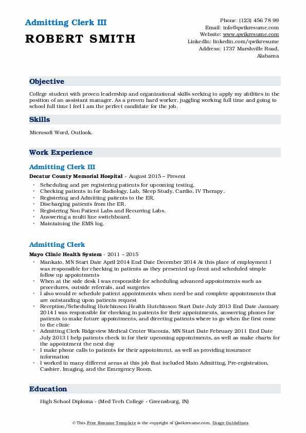 registration clerk resume samples