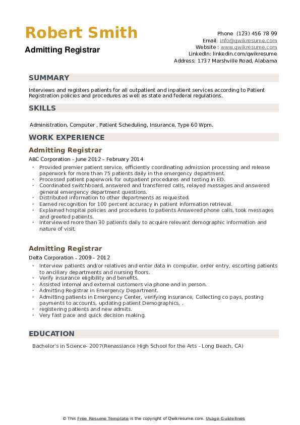 Admitting Registrar Resume example