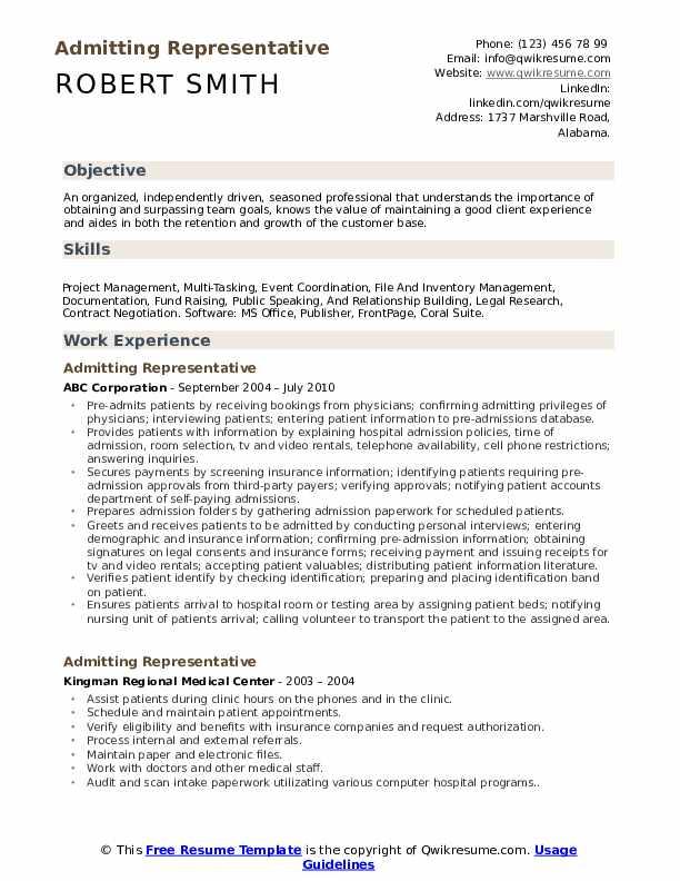 Admitting Representative Resume Sample