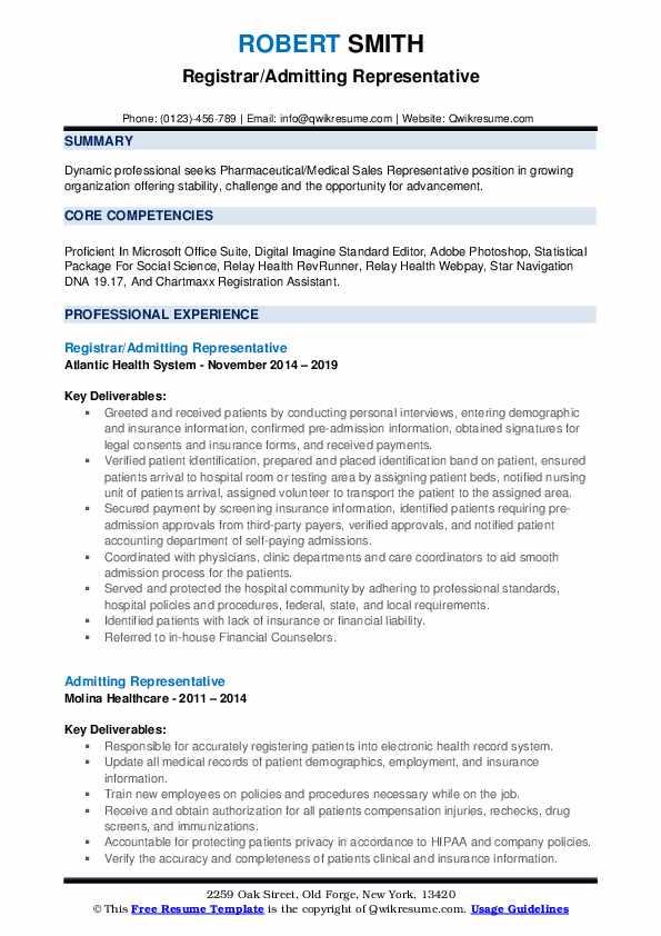 Registrar/Admitting Representative Resume Sample