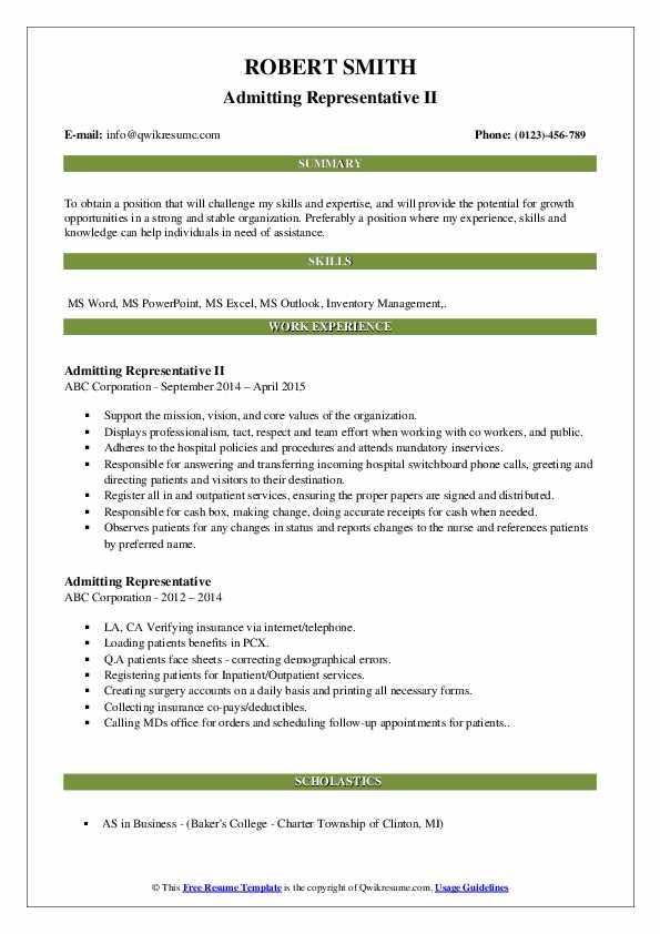 Admitting Representative II Resume Template