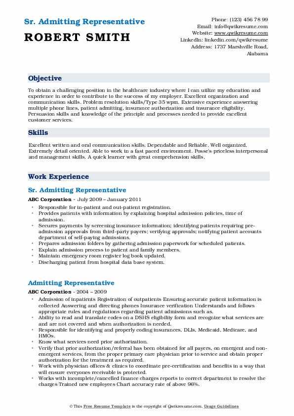 Sr. Admitting Representative Resume Model